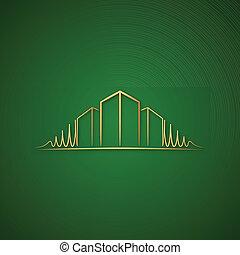 logotipo, sobre, arquiteta, verde