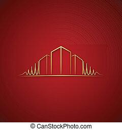 logotipo, sobre, arquiteta, vermelho