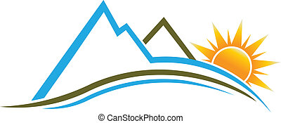logotipo, sol, image., montanhas