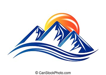 logotipo, sol, montanhas, vetorial, brilhante