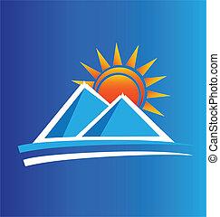 logotipo, sol, vetorial, montanhas