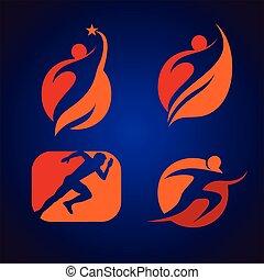 logotipo, sucedido, pessoa
