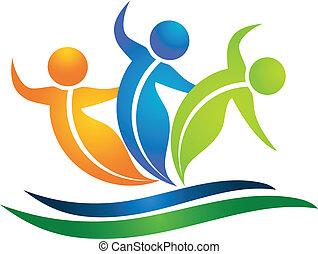 logotipo, swooshes, figuras, folheia, equipe