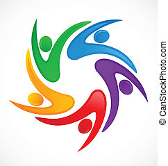 logotipo, swooshes, trabalho equipe