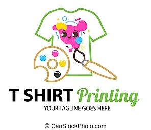 logotipo, t-shirt, marcar, abstratos, imprimindo, modelo, colorido, cmyk, printing., incorporado, concept., etc., modernos, tipografia, paleta, tshirt, identidade, oficina, serigraphy, vetorial, fábrica, impressão