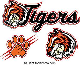 logotipo, tigres
