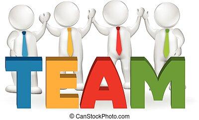 logotipo, trabalhadores, 3d, trabalho equipe, executivos