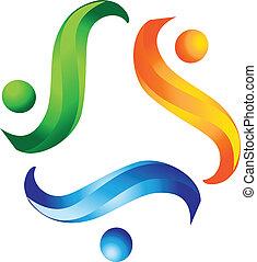 logotipo, trabalho equipe, ajudando