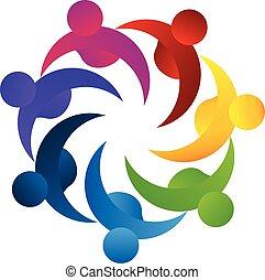 logotipo, trabalho equipe, conceito, negócio