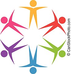 logotipo, trabalho equipe, optimista