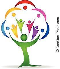 logotipo, trabalho equipe, pessoas, árvore