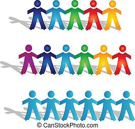 logotipo, trabalho equipe, pessoas, grupos