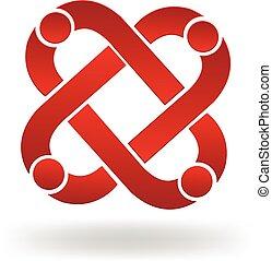 logotipo, trabalho equipe, pessoas