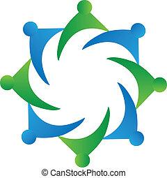 logotipo, trabalho equipe, vetorial, negócio