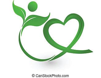 logotipo, verde, ilustração, natureza