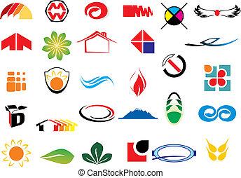 logotipo, vetorial, elementos