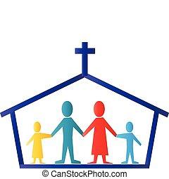 logotipo, vetorial, família, igreja