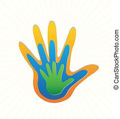 logotipo, vetorial, família, proteção, mãos
