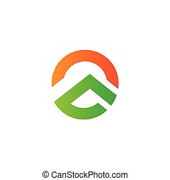 logotipo, vetorial, gradiente, montanha, geomã©´ricas, sol