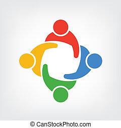 logotipo, vetorial, grupo, pessoas