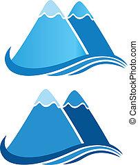 logotipo, vetorial, montanhas