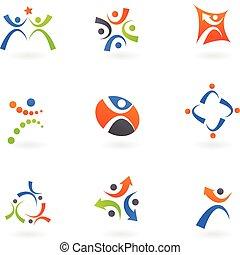 logotipos, 2, human, ícones