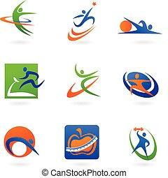 logotipos, condicão física, coloridos, ícones