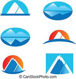 logotipos, jogo, seis, montanha