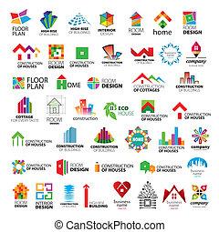 logotipos, vetorial, cobrança, melhoria, construção, lar