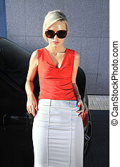 loiro, moda, óculos de sol, mulher