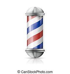 loja, antigas, azul, realístico, vindima, -, vidro, polaco, vetorial, barbeiro, formado, stripes., branca, prata, vermelho