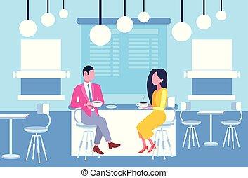 loja, café, conceito, relacionamento, pessoas negócio, informal, discutir, par, sentando, mulher, comprimento, cheio, coworkers, tabela, horizontais, café, reunião, tendo, homem