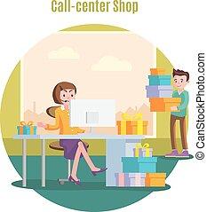 loja, conceito, serviço, helpline