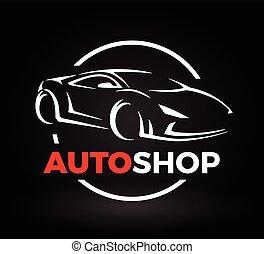 loja, conceito, super, automático, esportes, desenho, veículo, logo., car