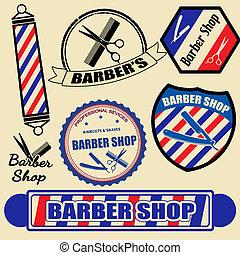 loja, etiquetas, jogo, barbeiro, selos