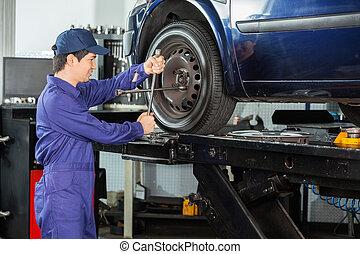 loja, reparar, pneu, mecânico carro, afixando