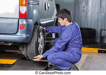loja, reparar, pneu, substituindo, mecânico carro