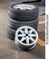 loja, reparar, pneus, liga, automático
