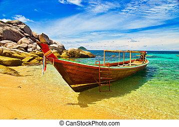 longtail, turqouise, baía barco