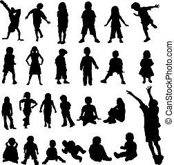 lotes, bebês, silhoue, crianças