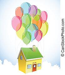 lotes, casa, vetorial, balloons., coloridos
