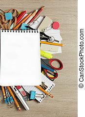 lotes, materiais, papel, escritório, em branco