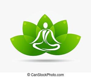 loto, logotipo, flor, ioga, ilustração