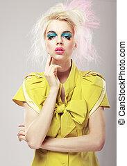 loura, deco., arte, conspícuo, makeup., glamor, vívido, mulher, cabelo