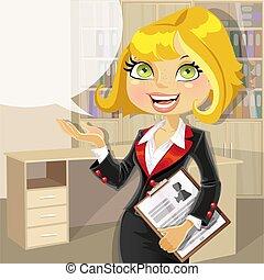 loura, negócio mulher, escritório
