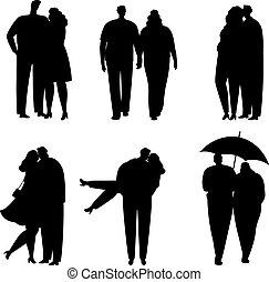 love., cobrança, pares, silhuetas, vetorial, pretas, ilustração