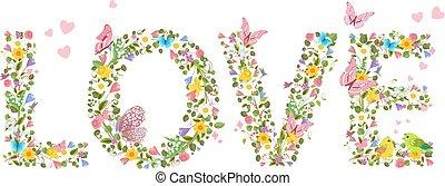 """""""love"""", primavera, letras, voando, flores, c, borboletas"""