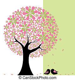 lovebird, flor, árvore, springtime