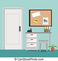 lugar, cena, ícones escritório