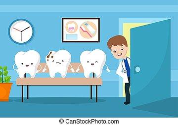 lugar crianças, saudável, concept., esperando, odontólogo, vetorial, boca, dentes